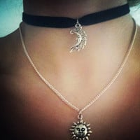 Black Velvet Choker with Crescent Moon