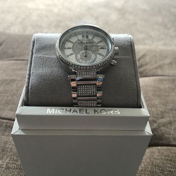 NEW AUTHENTIC MICHAEL KORS SAWYER CRYSTALS SILVER WOMEN'S MK6281 WATCH NWT $450