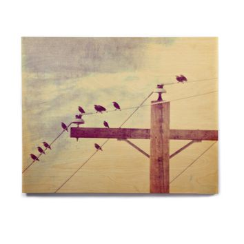 "Sylvia Coomes ""Vintage Birds On A Wire 2 "" Yellow Digital Birchwood Wall Art"
