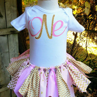 Pink and gold fabric tutu, pink tutu, first birthday tutu, tutu