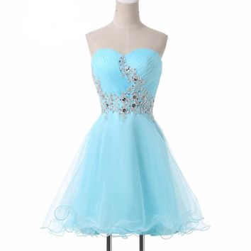 Mini Lace Short Cocktail Dresses Cute Light Blue Sexy Sweetheart Voile Satin Robe De Cocktail Prom Gowns Dress