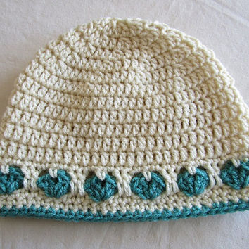 Crochet Hat with Hearts in Ivory and Jade
