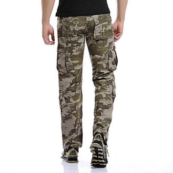 2017 Men Loose Multi-Pocket Camouflage Pants Men's Casual Cotton Straight Big Yards Long Frock Multi Zipper Male Washed Trousers