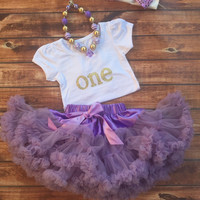 Purple first birthday outfit, girl 1st birthday, purple pettiskirt, one year old gold shirt, birthday shirt, 1st birthday, one, skirt,