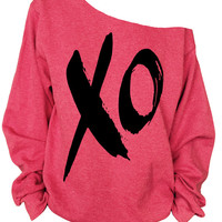 Xo print oversized off shoulder raw edge  sweatshirt
