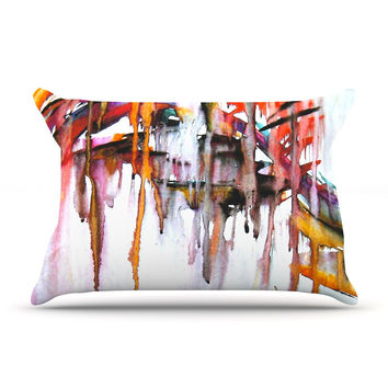 "Malia Shields ""Cascade"" White Multicolor  Pillow Case"