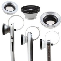 AGPtek® Circular Clip 3 in 1 Siver 180 Degree Fisheye Lens + Wide Angle Lens + Macro Lens for iPhone iPod touch iPad Samsung Galaxy S3 Note 2 and Most of Phones Tablet PC with Camera Lens