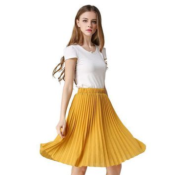 ICIKDZ2 Vintage Tulle Skirt Tutu Midi Summer Skirts Womens 2016 Slim Elastic High Waist Skirt Jupe Longue Skater Skirt Pleated Skirts