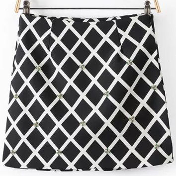 Black and White Plaid Beads Detailed Skirt