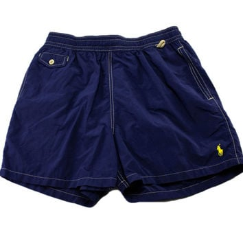 dca8a2f71a Vintage 90s Polo by Ralph Lauren Navy Blue Swim Trunks Mens Swim. shorts ...