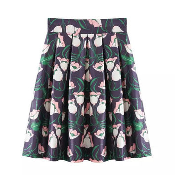 Stylish High Rise Print Dress Umbrella Women's Fashion Skirt [5013257796]