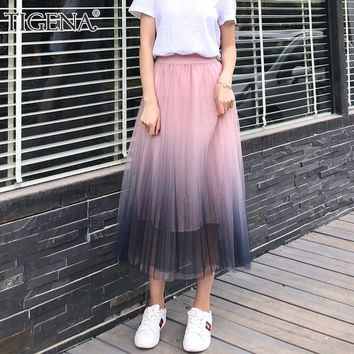TIGENA Gradient Color Summer Tulle Skirt Women High Waist Pleated Long Skirt Female A-line White Pink Tutu School Skirt Sun