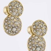 Double-Sided Stud Crystal Circle Earrings