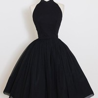 Black Open Back Strapless Halter Homecoming Dress