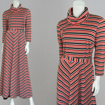 Vintage 70s VERA MONT Striped Maxi Dress Jersey Dress Disco Dress Turtleneck Dress Polo Neck Dress Red & Black 1970s Dress Turtle Neck Dress