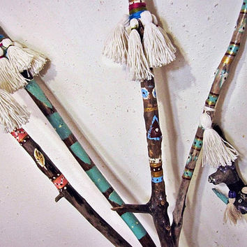 Boho Decor - Painted Driftwood Branches Set - Large - Tassel Decor - 5 pcs - Vase Filler - Bohemian Outdoor Decor - Gypsy - Floor Decor