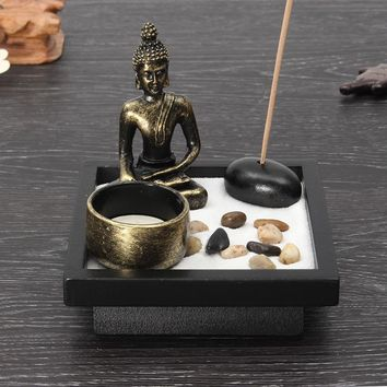 Overvalue Chinese Zen Buddha Resin Sand Fragrance Candle Holder Buddha Candlestick Ornaments Feng Shui Crafts Home Decor Gift