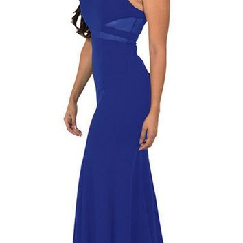Royal Blue Mermaid Long Prom Dress with Sheer Cut-Outs