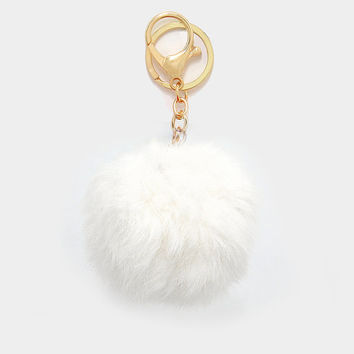 White Rabbit Fur Pom Pom Key Chain / Bag Charm Key chain, gift