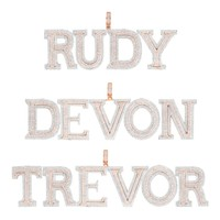 Rose Gold Tone Block Letter Double Layer Silver Initials