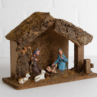 Vintage 60s Christmas Nativity, Handmade Creche Manger Made in Italy with Moss and Bark