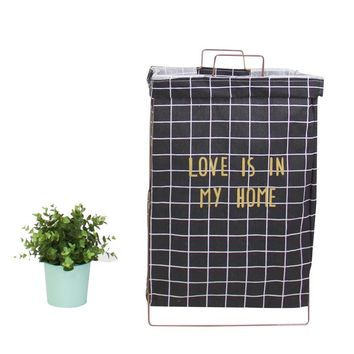 Wire Fold Laundry Hamper Black Check with Letters