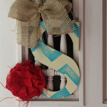 Initial door hanger turquoise and ivory chevron distressed - initial door hanger, monogram door hange, chevron door hanger,door decor,
