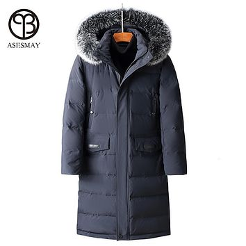 Asesmay brand 90% white duck down men winter jacket high quality clothing fox fur x-long men's down jacket thick parka -40degree
