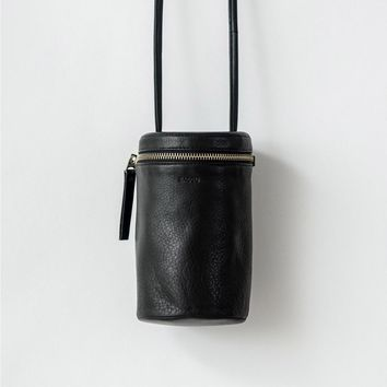 BAGGU Leather Cross Body Lens Bag Black