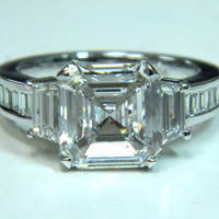 3.14ct H-VS1 Platinum Asscher Diamond Engagement Ring GIA certified JEWELFORME BLUE