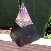 Black sun orgonite golden ratio pyramid with amethyst tip