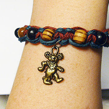 Grateful Dead Dancing Bear  Hemp Bracelet     handmade macrame jewelry  hippie   girls  women
