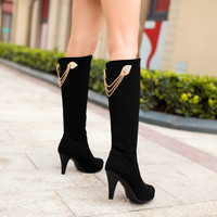Rhinestone Black Knee High Boots Platform High Heels Shoes Woman 3273 3273