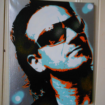 bono custom painting, stencils & spraypaints on canvas,U2,music,irish,europe,portrait,hand made,pop art,face,sunglasses,culture,gift,rock