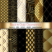 Black & Gold Geometrics: Geometric Digital Paper 12x12 Scrapbooking Papercrafting Cardmaking Crafting Invites - Instant Download Printable