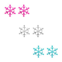 Holiday Metallic Pink, Silver and Blue Snowflake Stud Earrings Set of 3