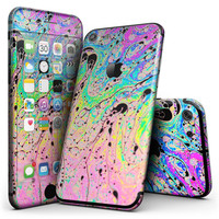 Neon Color Fushion with Black splatters - 4-Piece Skin Kit for the iPhone 7 or 7 Plus