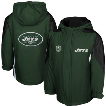 New York Jets Preschool Field Goal Full Zip Hooded Jacket - Hunter Green/Black - http://www.shareasale.com/m-pr.cfm?merchantID=7124&userID=1042934&productID=528470269 / New York Jets
