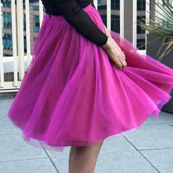 New Purple Red Patchwork Grenadine Pleated Plus Size High Waisted Tutu Cute Homecoming Party Skirt