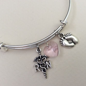 NICU RN Nurse Baby Feet Pink Crystal Heart Bracelet Adjustable Expandable Silver Wire Bangle Nurse Gift Handmade Trendy Custom