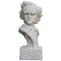 Awesome Vintage White Edgar Allan Poe Sculptural Bust, Pop Art, Home Decor, Halloween Decor, Office Decor,