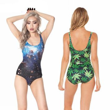 Funny Women Swimsuit Collection - Galaxy Weed Skeleton Ladies Swimwear Swimsuit Bathing Suit