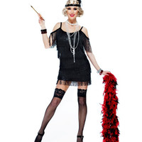 Black Manhattan Fringe Flapper Costume