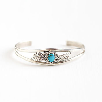 Vintage Sterling Silver Turquoise Cuff Bracelet - Flower & Leaf Retro 1960s Blue Native American Style Southwestern Boho Tribal Jewelry