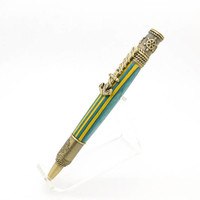 Hand turned Antiques Brass Nautical Pen featuring Fighting Irish Spectraply, domestic wooden pen, handmade twist pen, Blue Yellow Parker Pen
