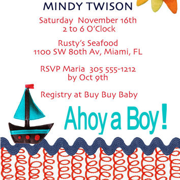 Baby Shower Invite - Ahoy A Boy! 5 X 7- 1 Sided