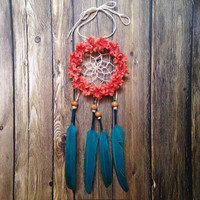 """3"""" Floral Coral and Peacock Dream Catcher"""