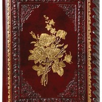 Gold Roses Refillable Leather Journal with Embossed Roses Design, Ivory Sheets, Lined, 6x8""