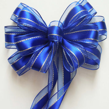 Royal Blue Silver Wedding Bow Colbat Blue Silver Party Decoration Bow Church Pew Bow Wedding Chair Bow Arches Arbor Decor Bow Gift Bow
