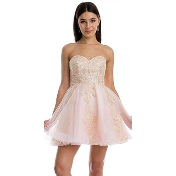 Blush Strapless Homecoming Short Dress Embroidered